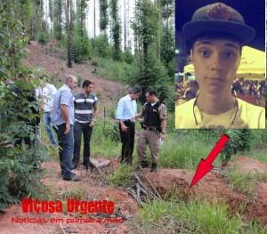 A seta indica o local onde o corpo de Gabriel foi encontrado