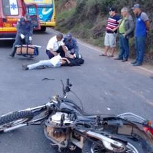 Motoqueiro fica ferido em acidente na Castelo Branco