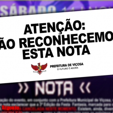 Prefeitura pública nota oficial  de Cancelamento da Festa à Fantasia