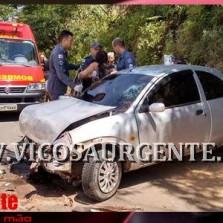Condutora sofre acidente na rodovia São José do Triunfo/Viçosa