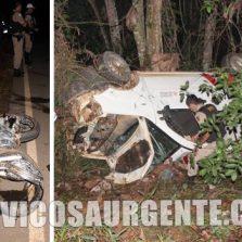 São Miguel do Anta: Motoqueiro fica gravemente ferido após bater em ambulância