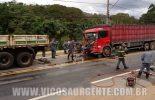 Colisão entre caminhões deixa dois feridos no João Brás