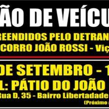 Leilão de veículos do Auto Socorro João Rossi, será no dia 02 de Setembro.