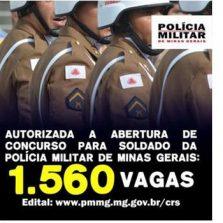 PMMG divulga novo concurso para inclusão de 1.560 novos soldados