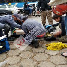 Motoqueiro tem ferimento grave após acidente na Castelo Branco