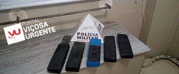 Jovem é preso com cinco barras de maconha na rodoviária de Viçosa