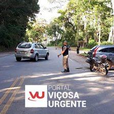 Colisão próximo do Acamari deixa motoqueiro levemente ferido