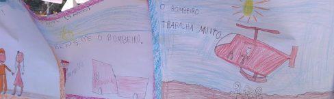 Crianças desenham em homenagem ao trabalho dos bombeiros em Brumadinho