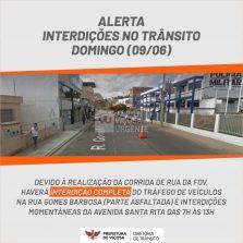 Trânsito ficará interditado na Gomes Barbosa nesse Domingo