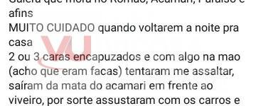 Viçosa/Paula Cândido: Jovem usa redes sociais para alertar sobre tentativa de assalto