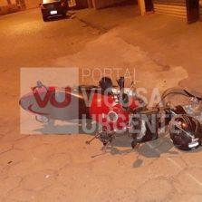 Motoqueiro fica ferido após acidente em Ervália.