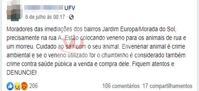Jovem alerta para envenenamento de cães em bairros de Viçosa