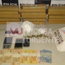Polícia Militar realiza grande apreensão de drogas em Ponte Nova