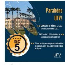 UFV obtém nota máxima no Índice Geral de Cursos divulgado pelo MEC