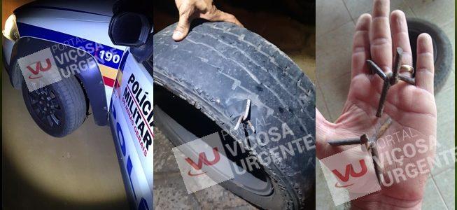 Bandidos usam pregos para furar pneus de viaturas na Paula