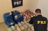 Juiz de Fora: PRF Apreende cachaça que será transformado em álcool gel para hospitais